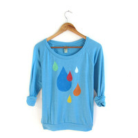 Raindrops - HAND STENCILED Slouchy Tri Blend Deep Scoop Neck Lightweight Womens Sweatshirt in Heather Blue and Multicolored Rainbow - S M L