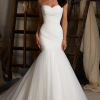 Asymmetrically Draped Net Fishtail Wedding Dress Simple Style