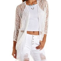 White Open Knit Fringe Cocoon Cardigan by Charlotte Russe
