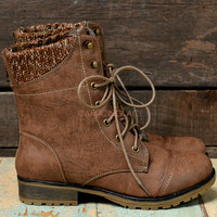 SZ 5.5 Campfire Kisses Taupe Lace Up Sweater Ankle Boots
