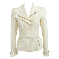 Tom Ford Ivory Jacket w Gold Zippers