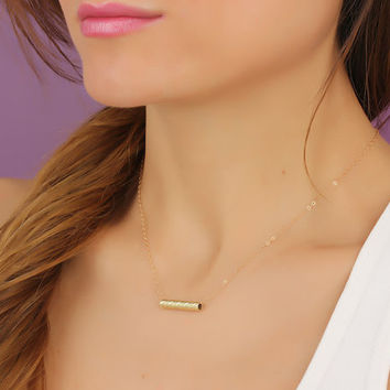 """Gold bar necklace, simple bar necklace, 14k gold filled necklace, bridesmaid necklace, minimalist bar necklace, tiny bar necklace, """"Eidothea"""