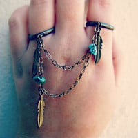 feather and turquoise double ring slave ring by alapopjewelry