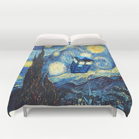 Tardis Doctor Who Starry Night Duvet Cover by Pointsalestore