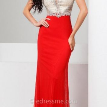 Shiny Stretch Mesh Prom Gown by Tony Bowls Le Gala