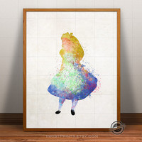 Alice Print Watercolor, Alice in Wonderland Poster, Disney Art, Illustration, Watercolour, Giclee Wall, Kid Artwork, Comic, Fine, Home Decor