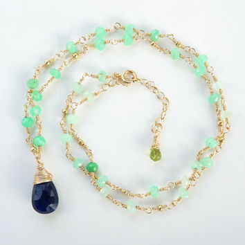 Navy blue chalcedony and chrysophrase necklace - 14k gold filled necklace - navy blue and green necklace - handmade necklace - wire wrapped
