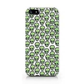 Woodpostshop -Peaceful Alien Phone Case - Black and White Slim Cover Case (For Iphone 5/5s)