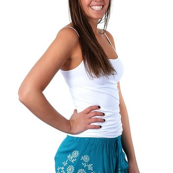 Embroidered Shorts - Turquoise