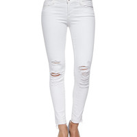 Women's Low-Rise Skinny Crop Jeans, Demented - J Brand Jeans - White