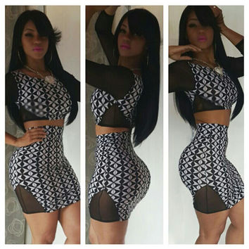 Two Piece Bodycon Mini Dress