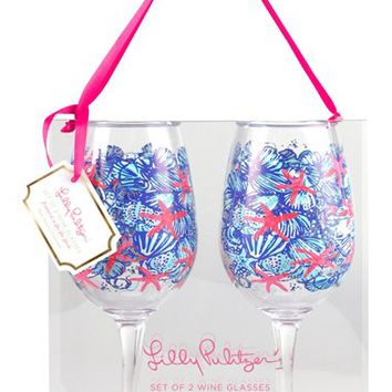 Lilly Pulitzer Wine Glasses - Blue (Set of 2)