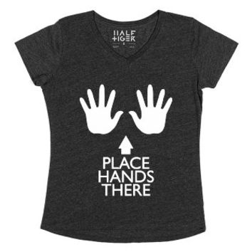 Place Hands There-Unisex Heather Onyx T-Shirt