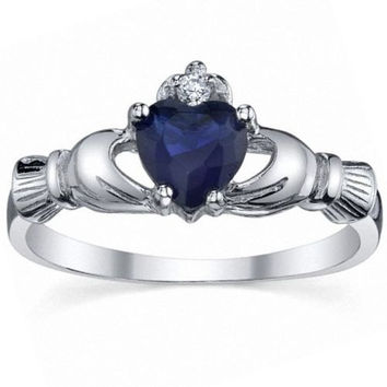 Sterling Silver 0.765ct Heart cut created Blue Sapphire Promise Friendship Engagement Dublin Claddagh Ring, Corrine (sz 4-10.25) 006-3184-A