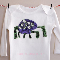 Creepy Crawly Big Hairy Spider Bodysuit Halloween OnePiece Toddler Baby Bodysuit Childs Drawing Long Sleeve