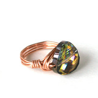 Swarovski Peacock Ring Vitrail Crystal Twist Copper Wire Wrapped Size 6 1/2