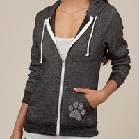 Studded Zip Up Eco Friendly Hooded Sweatshirt Paw Print by ShopRIC