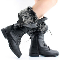 Womens Winter Boots Combat Snow Military Lace Up Army Flat Fur Lined Buckle Punk