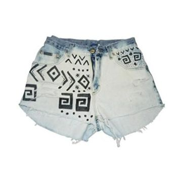 Vintage High Waisted Cutoff Tribal Print Wrangler Shorts