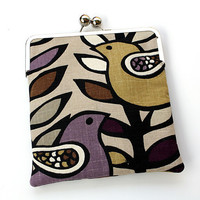 Purple Bird iPad Case or Sleeve with Kisslock Frame  by kailochic