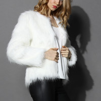 My Chic Faux Fur Coat in White White
