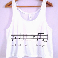 """""""and i will try to fix you"""" Crop-Top"""