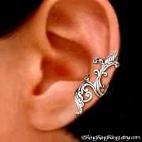 925 Iris wave  solid sterling silver ear cuff by RingRingRing