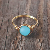 Sea Glass Turquoise Ring - prom rings