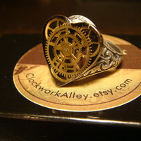 Victorian Style Steampunk Clockwork Heart Vintage Gears Watch Part Ring in Antique Silver (1712)