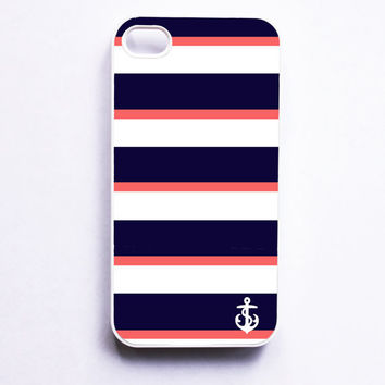Nautical iPhone Case for Iphone 4 / 4S - Navy & Coral Stripe With Anchor