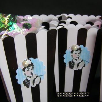 10 Black Vintage Style Audrey Hepburn Breakfast At Tiffany's Movie Snack Popcorn Boxes, Chips Boxes, Bags, Tea Party, Movie Night Sleep Over