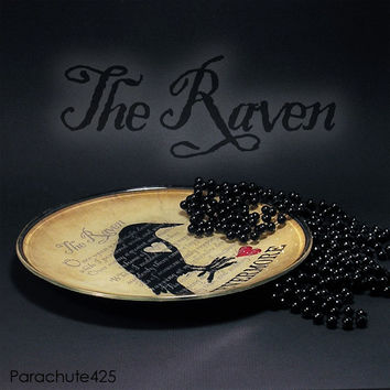 THE RAVEN, decoupage glass plate, Poe, Nevermore, Halloween, broken heart, literature, goth, macabre