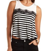 Lace Trim High-Low Tee by Charlotte Russe