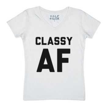 Classyaf-Female White T-Shirt