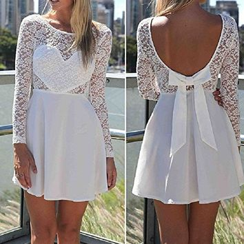 Lowpricenice(TM) 1PC Sexy Women Lace Bow Backless Love Heart Party Short Dress