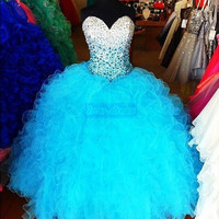 2014 New Beading Quinceanera Dresses Formal Prom Party Ball Gown Custom All Size