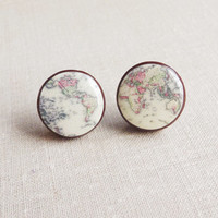 Whole World Map Earrings Whole Wide World Stud Earrings Map Studs Posts Vintage Map Old Map Retro Space- Globetrotter