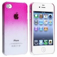 eForCity® Snap-on Case compatible with Apple® iPhone® 4 / 4S , Clear Hot Pink Waterdrop Ultra Thin