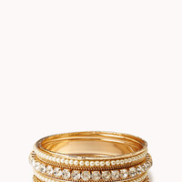 FOREVER 21 Pearlescent Rhinestone Bangle Set Clear/Gold Med/Lg