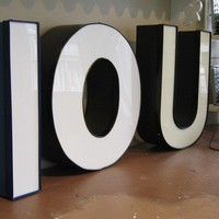 Vintage Large Industrial Metal Marquee Letter I by outofdoha2010