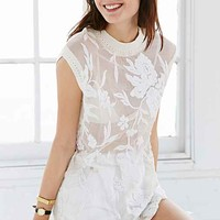 Kimchi Blue Lilly Embroidered Mesh Tunic Top- White
