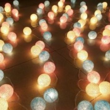 Candy Mixed Set 35 of Cotton Balls String Lights Patio Wedding and Home Decorate By I Love Handicraft (35 Balls/set)