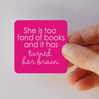 she is too fond of books square magnet by BookFiend on Etsy