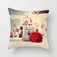 Retro Camera and Red Flower (Retro and Vintage Still Life Photography) Throw Pillow by Andrea Caroline