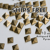 DIY Studs - 100 Bronze 10mm Flat Back Pyramid Studs - Iron On, Hot Fix, or Glue On - Pyramids for iPhone Case, Sunglasses or Crafts
