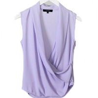 Dream About Me Draped Sleeveless Blouse - Lavender