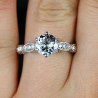 Beatrice 14kt WhiteGold Round Aquamarine Diamond Cathedral Leaves Style Engagement Ring (Other metals and stone options available)