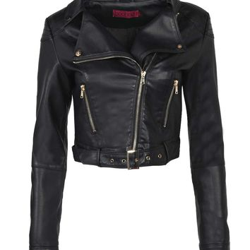 Skye Cropped Faux Leather Biker Jacket