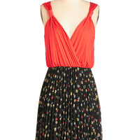 ModCloth Mid-length Tank top (2 thick straps) A-line And The Beat Goes Accordion Dress