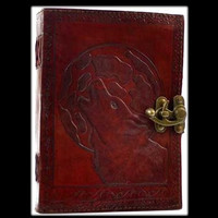 Wolf Moon Genuine Leather Blank Journal with Latch